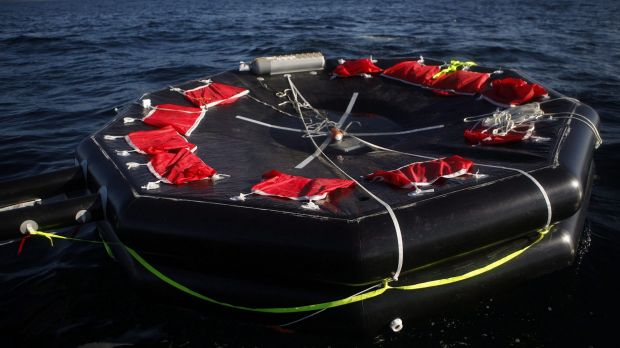 A life raft from the whale watching boat Leviathan II floats near Tofino, British Columbia on Monday.