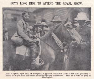 Sydney Morning Herald clipping of Lennie Gwyther, nine, arriving in Martin Place, Sydney, 1932. He had ridden 1000km ...