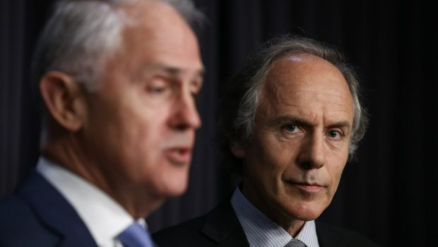Prime Minister Malcolm Turnbull and Alan Finkel address the media in Canberra on Tuesday.