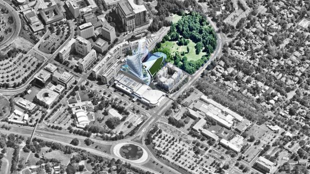 An artist's impression of the Casino Canberra rebuild, next to the Glebe Park block the ACT's Land Development Agency ...