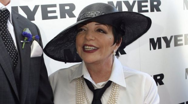 Liza Minnelli in the Myer marquee in 2009.