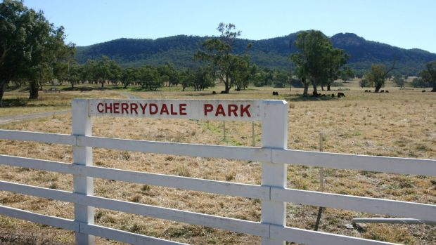 The farm gate sign at Cherrydale Park, the Obeid family property, with Mt Penny in the background.