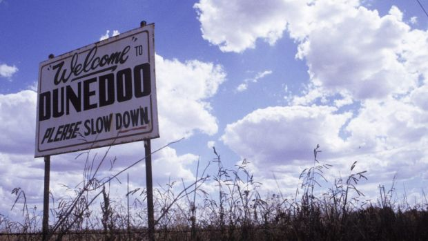 The entrance to Dunedoo, where the Stoccos were arrested.