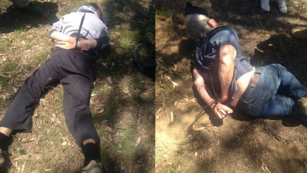 NSW police posted these photos of the father-and-son fugitives after their arrest.