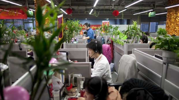 Employees at Alibaba's headquarters in Hangzhou, China.