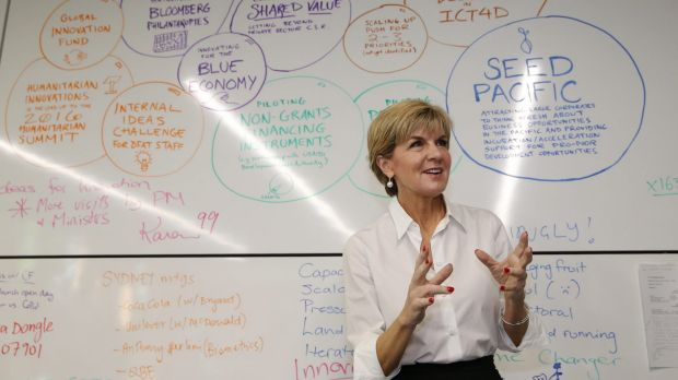 Foreign Affairs minister Julie Bishop at the Innovation Xchange unit in October 2015.