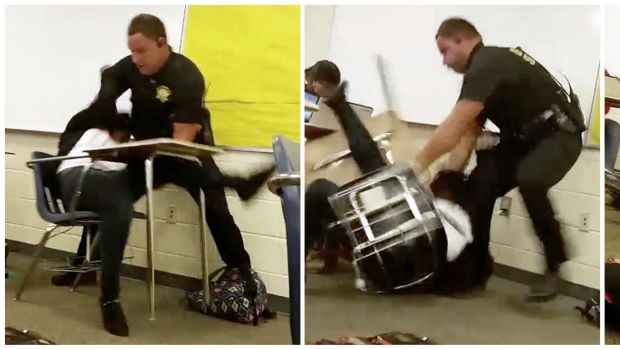 Images from a video taken by a Spring Valley High School student shows Senior Deputy Ben Fields flipping a girl to the ...