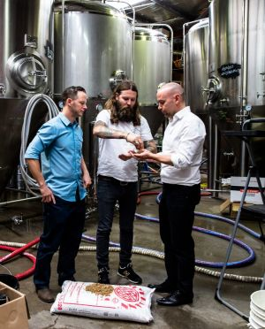 Solar-powered beer: Solar energy specialist Jake Steele, Young Henrys co-owner Oscar McMahon and Tom Nockolds from ...
