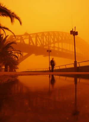 """The 2009 """"red dawn"""" that saw a huge region of eastern Australia cloaked in a dust storm."""