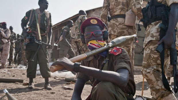 South Sudanese government soldiers ready to head to the front line to fight rebel forces near Bor, South Sudan, last year.
