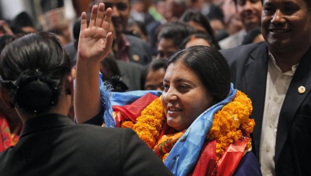 Nepalese president-elect Bidhya Devi Bhandari, of the Communist Party of Nepal Unified Marxist-Leninist, in Kathmandu on ...