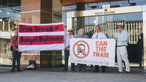 Members of the Can the Tram organisation in Civic Square on Thursday.  29 October 2015 Photo: Rohan Thomson The Canberra ...