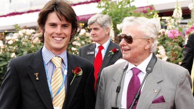 Family ties: James and Bart Cummings together at Flemington in 2008.