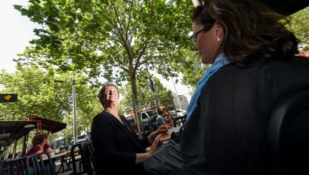 Beverley Caprioli, owner of the University Cafe, fears  someone will choke to death one day because of the plane trees.