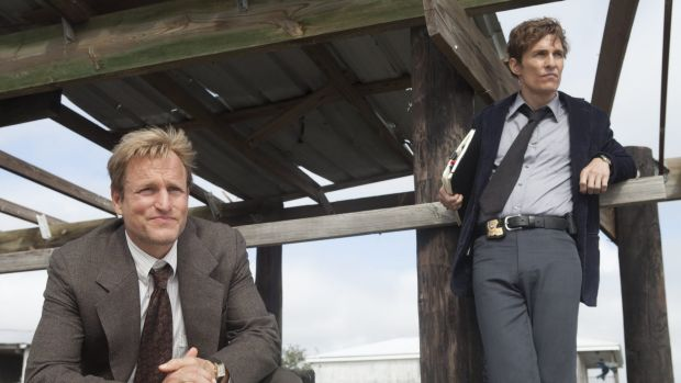 Matthew McConaughey as Rust Cohle & Woody Harrelson as Martin Hart in <i>True Detective</i>  - brilliant writing and casting.