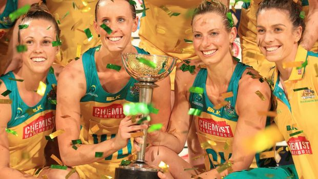 The Australian Diamonds with the trophy after the fourth and final game of the Constellation Cup contest.
