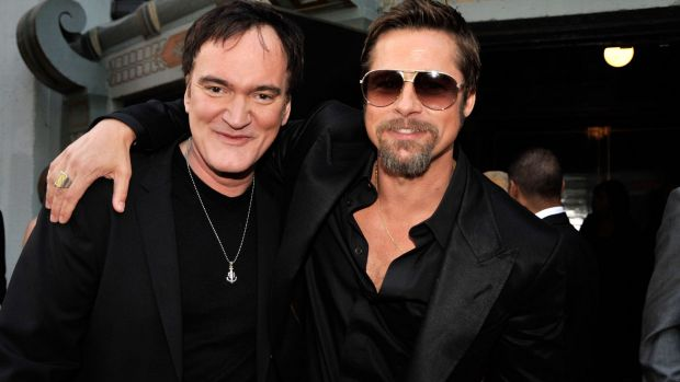 Director Quentin Tarantino and actor Brad Pitt arrive at the premiere of <i>Inglourious Basterds</i> in 2009.