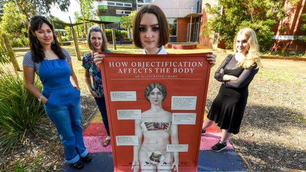 Fitzroy High School has a new feminism elective created by teacher Briony O'Keefe, pictured with students Edie Johnston, ...