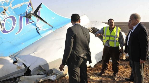 Egypt Prime Minister Sherif Ismail at the the crash site. 224 people died when the Russian charter flight crashed 25 ...