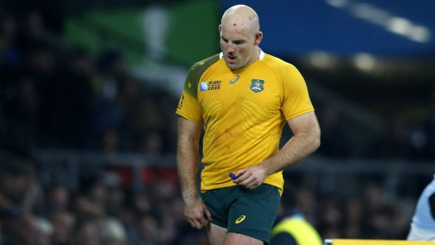Australia's Stephen Moore leaves the field during the Rugby World Cup final between New Zealand and Australia at ...