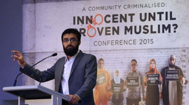 "Hizb ut-Tahrir spokesman Uthman Badar delivers a speech during the conference ""A Community Criminalised: Innocent Until ..."