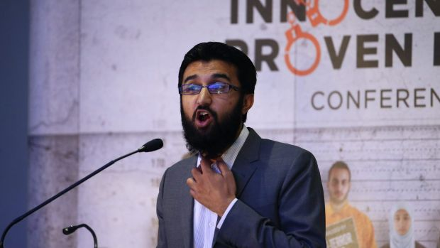 Uthman Badar delivers a speech on Sunday.