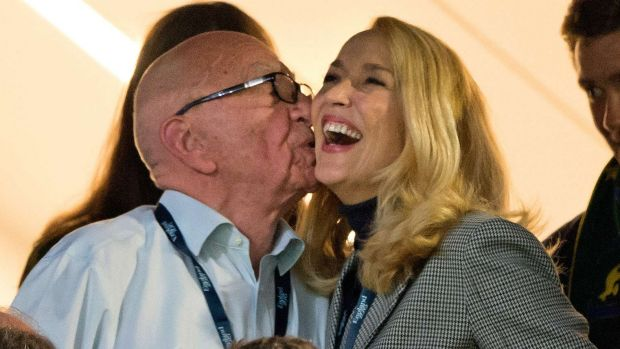 Sealed with a kiss: Rupert Murdoch and Jerry Hall on Saturday.