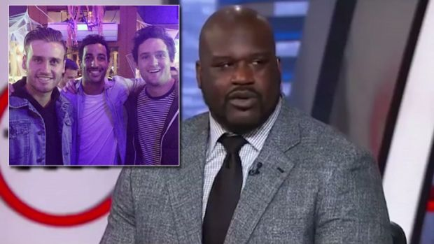 Shaquille O'Neal gives Docker a shout-out on US TV and (inset) Hayden Crozier with Perth lad Daniel Ricciardo and Alex ...