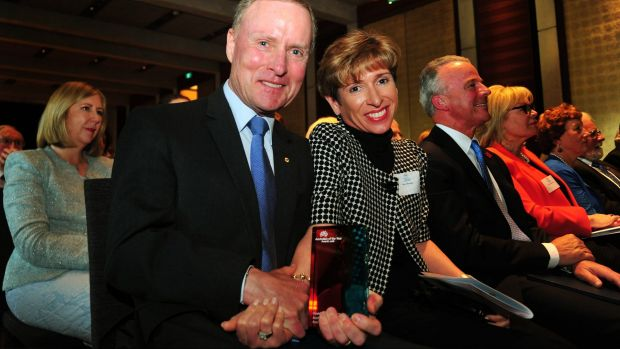 David Morrison with his wife Gayle at the 2016 ACT Australian of the Year awards ceremony, where he was announced the ...