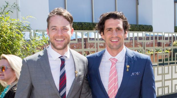 Hamish Blake and Andy Lee were mobbed by fans and media at the Melbourne Cup.
