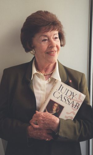 Judy Cassab with a copy of her Diaries
