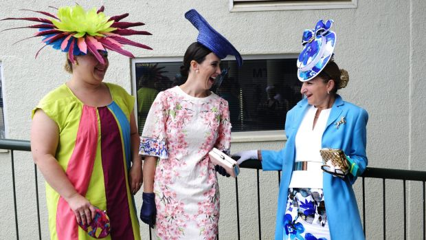 Bianca Kennelly, Sally Martin and Deb Parish at Thoroughbred Park in Canberra for Melbourne Cup Race Day.