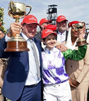 How sweet it is: Michelle Payne and trainer Darren Weir.