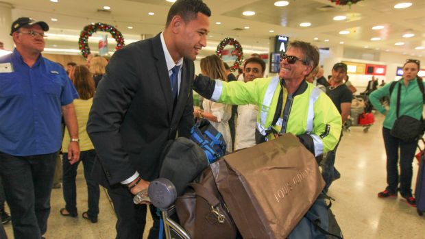 Home sweet home: Israel Folau returns to Sydney after the 2015 Rugby World Cup.