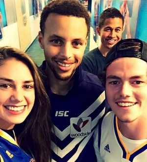 Steph Curry with Lachie Neale