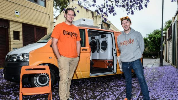 Brisbane friends Lucas Patchett (left) and Nicholas Marchesi are helping the homeless wash their clothes in a van fitted ...