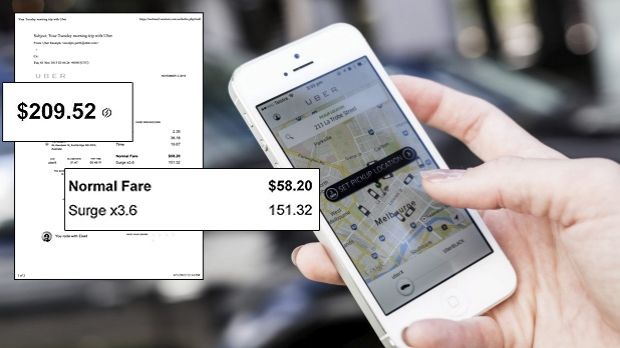 "The ""surge"" receipt (inset) was a shock to Uber user Iain McDougall"
