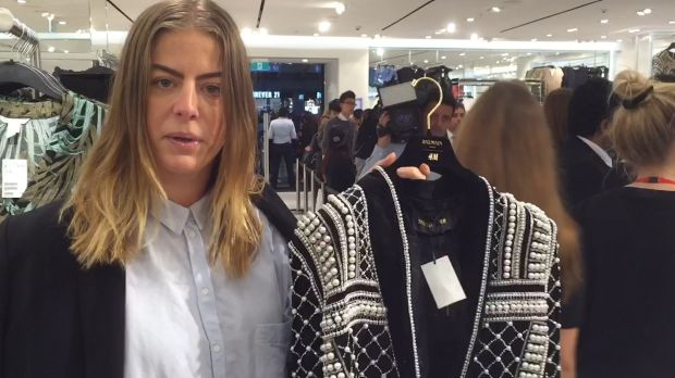 Elizabeth Cave, H&M's Australian public relations manager with the jacket that Kendall Jenner made famous.