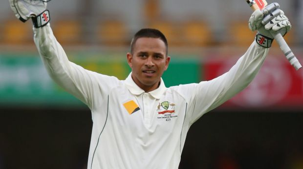 Life's ambition: Usman Khawaja notched his maiden Test century on day one against New Zealand at the Gabba.