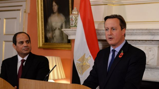 British Prime Minister David Cameron holds a news conference with Egyptian President Abdel Fattah el-Sisi at 10 Downing ...
