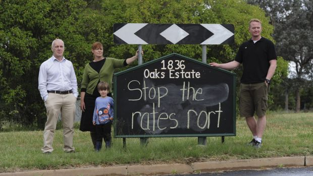 Oaks Estate residents are unhappy with the ACT government over their rates and services. From left, Pablo Serazio, Kate ...