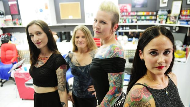 Tattoo pageant pioneer fallon nicole reflects on 39 crazy for Miss tattoo pageant