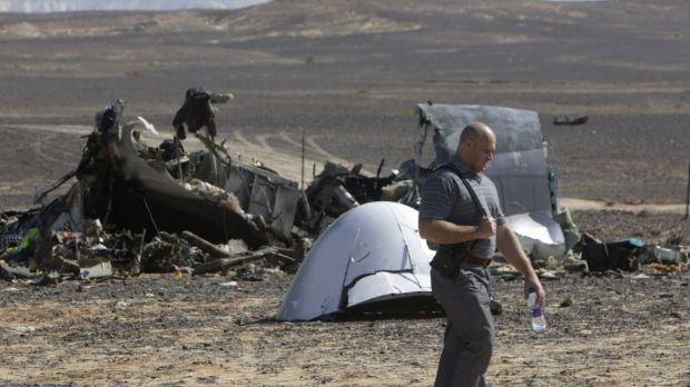 A Russian investigator near plane wreckage in Egypt last Sunday.