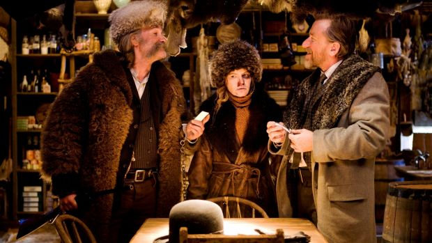 Kurt Russell, Jennifer Jason Leigh and Tim Roth in <i>The Hateful Eight.</i>