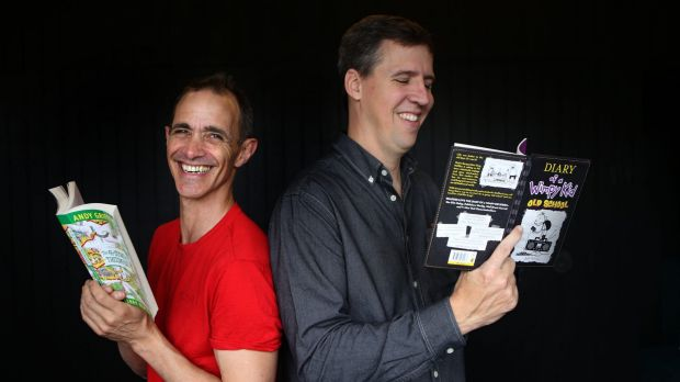 "Jeff Kinney (right) says many children's authors such as Andy Griffiths (left) or David Walliams are ""born performers""."