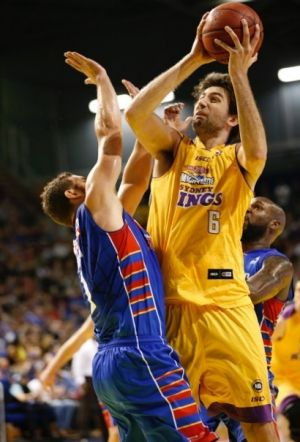 Controversial clash: Julian Khazzouh shoots for Sydney Kings against Adelaide 36ers.