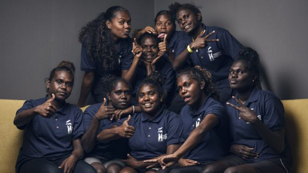 Tiwi College schoolgirls from Melville Island who spent a week in Sydney working on their book, Our Story, with the ...