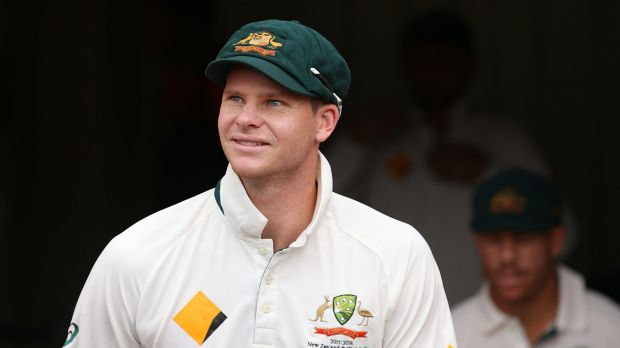 Australia captain Steve Smith leads his team out during the Brisbane Test.