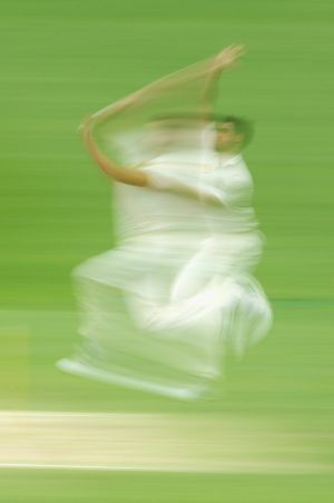Whirlwind: Mitchell Starc bowls during the first Test against New Zealand at the Gabba.