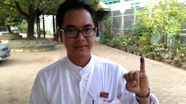 Former political prisoner Nay Phone Latt, who is standing for the opposition National League for Democracy, after voting ...